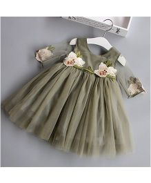 Lil Mantra Flower Lace Frilly Dress With Net Sleeves - Olive