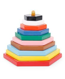 Alpaks Graded Hexagon Wooden Tower - Multi Color