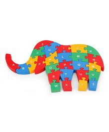 Alpaks Elephant Wooden Jigsaw Puzzle 1 Side Alphabets & Other Side Numbers - Multicolor