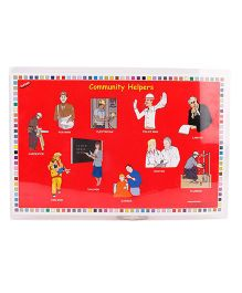 Alpak Table Mat With Family & Community Helpers Print - Red