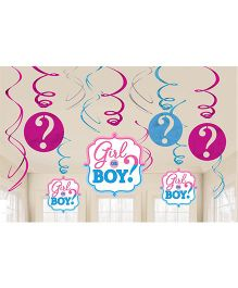 Wanna Party Swirl Decoration Boy Or Girl 12 Pieces - Blue Pink