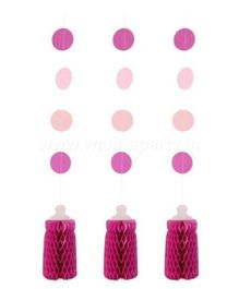 Wanna Party Honeycomb Bottle Hanging 3 Pieces - Pink