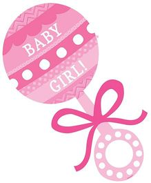 Wanna Party, Baby Girl Rattle Cutout - Pink