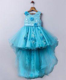 Whitehenz ClothingElegant Floral Tail Tutu High Low Party Dress - Blue