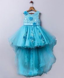 Whitehenz Clothing Elegant Floral Tail Tutu High Low Party Dress - Blue