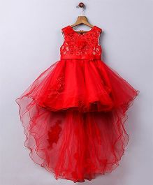 Whitehenz ClothingElegant Floral Tail Tutu High Low Party Dress - Red