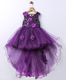Whitehenz ClothingElegant Floral Tail Tutu High Low Party Dress - Purple