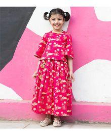 Tiber Taber Tiger Print Top & Skirt - Pink