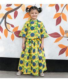 Tiber Taber Peacock Print Crop Top & Skirt - Yellow