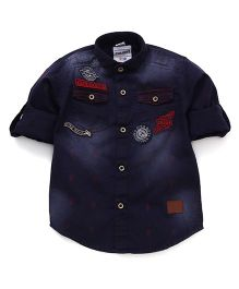 Oks Boys Full Sleeves Party Wear Shirt With Twin Pockets And Patchwork - Navy