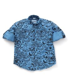 Oks Boys Full Sleeves Party Wear Shirt Paisley Print - Blue