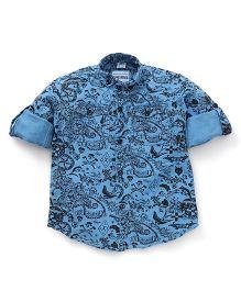 Oks Boys Full Sleeves Party Wear Shirt Paisley Print - Blue