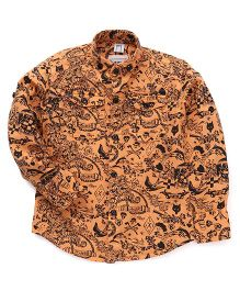 Oks Boys Full Sleeves Party Wear Shirt Paisley Print - Orange