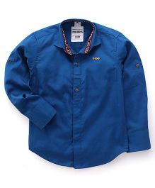 Oks Boys Full Sleeves Party Wear Shirt - Blue