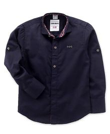 Oks Boys Full Sleeves Party Wear Shirt - Navy