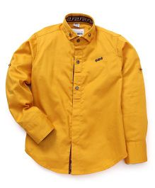 Oks Boys Full Sleeves Party Wear Shirt - Yellow