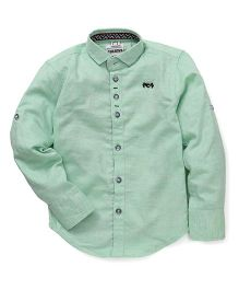 Oks Boys Full Sleeves Party Wear Shirt - Green