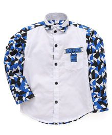 Oks Boys Full Sleeves Party Wear Shirt  Printed - White Blue Black