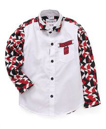 Oks Boys Full Sleeves Party Wear Shirt  Printed - White Red Black