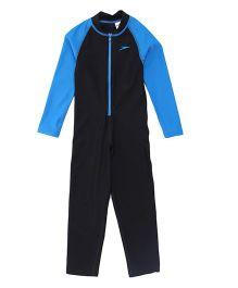 Speedo Full Sleeves Legged Swimsuit - Black Blue