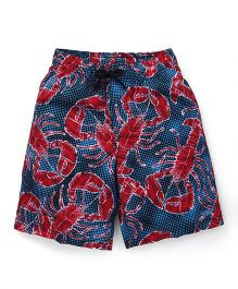 Swimming Trunks Crabs Print - Blue Red