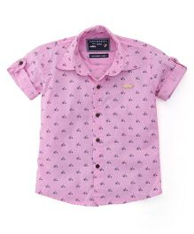 Jash Kids Half Sleeves Shirt Cycle Print - Pink