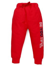 Doreme Full Length Track Pants Beyoutiful Print - Red