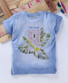 Tonyboy Leaf Printed Half Sleeve T-Shirt - Blue