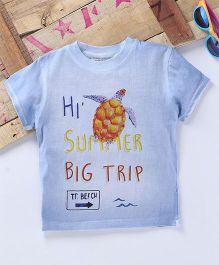 Tonyboy Turtle Printed Half Sleeve T-Shirt - Blue