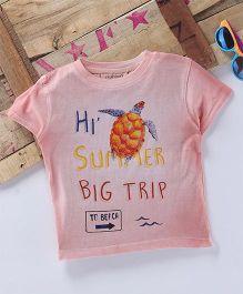 Tonyboy Turtle Printed Half Sleeve T-Shirt - Peach