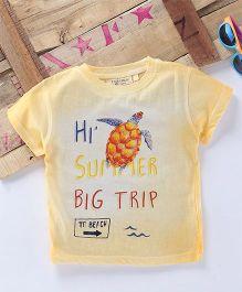 Tonyboy Turtle Printed Half Sleeve T-Shirt - Yellow
