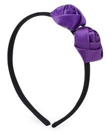 Flaunt Chic Two Rose Hair bands - Purple