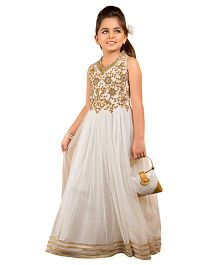 Betty By Tiny Kingdom Embellished Ethnic Gown With Purse - Cream