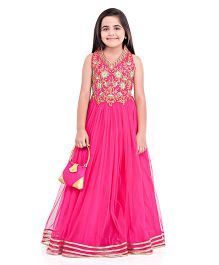 Betty By Tiny Kingdom Embellished Ethnic Gown With Purse - Dark Pink