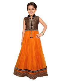 Betty By Tiny Kingdom Collar Neck Gown - Orange