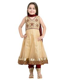 Betty By Tiny Kingdom Embellished Anarkali & Churidar Set - Fawn
