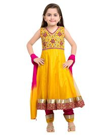 Betty By Tiny Kingdom Embellished Anarkali & Churidar Set - Yellow & Fuchsia