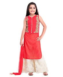 Betty By Tiny Kingdom Embellished Kurta & Palazzo Set - Red & Cream