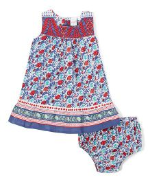 Yo Baby Floral Dress With Bloomer - Blue & Red