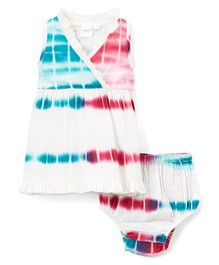 Yo Baby Tie-Dye Surplice Dress With Bloomer - Blue & Pink