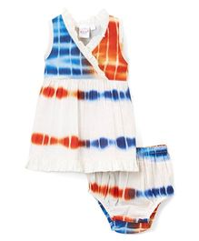 Yo Baby Tie-Dye Surplice Dress With Bloomer - Orange & Blue