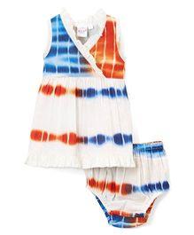 Yo Baby Tie-Dye Surplice Dress With Bloomer - Orange & Blue