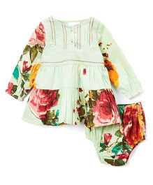 Yo Baby Floral Long Sleeves Dress With Bloomer - Mint Green