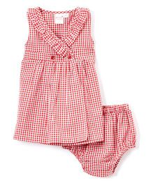 Yo Baby Gingham Surplice Dress With Bloomer - Red