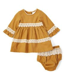 Yo Baby Crochet Long Sleeves Dress With Bloomer - Brown