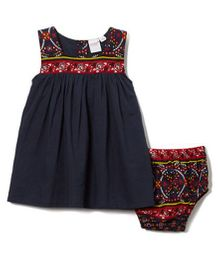 Yo Baby Floral Yoke Dress With Bloomer - Navy Blue