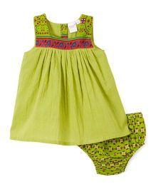 Yo Baby Floral Yoke Dress With Bloomer - Green