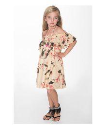 Yo Baby Tie-Dye Frill A-Line Dress - Beige