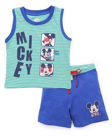 Bodycare Sleeveless T-Shirt & Shorts Set Mickey Print - Green Blue