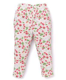 ToffyHouse Checks Leggings Strawberry Print - White Red